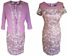 MAUVE PURPLE GOLD MOTHER OF THE BRIDE GROOM OUTFIT 2 PIECE JACKET DRESS SIZE 14