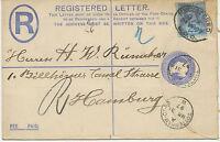 2441 1897 QV 2 D postal stationery registered env uprated w 2 1/2 D RARE POSTMKS