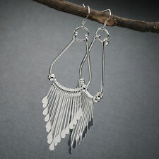 Women Fashion Bohemian 925 Silver Plated Hook Chandelier Long Dangle Earrings