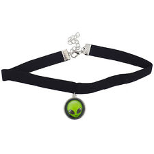 Lux Accessories Black Velvet Choker Necklace Green Alien Head Charm Drop