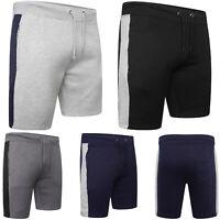 Mens Plain Gym Fleece Jogger Shorts Elasticated Waist Jogging Running Zip Pocket