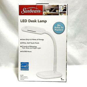 NEW SUNBEAM LED WHITE FLEX HEAD DESK LAMP 36,000 HOURS ENERGY STAR RATED