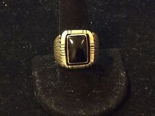 VINTAGE STERLING SILVER ONYX MEN'S  RING SIZE 9