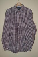 RETRO BLUE & RED CHECK TOMMY HILFIGER 100'S TWO PLY LONG SLEEVE SHIRT UK LARGE