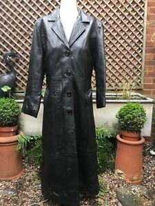 Genuine very very long black leather coat women's large