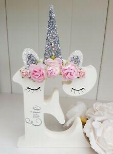 Floral roses sleepy unicorn girls freestanding wooden 150mm letter/name