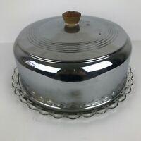 Vintage Mid-Century Modern Aluminum Covered Glass Cake Plate
