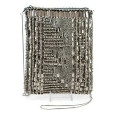 Mary Frances High Tech Pewter Beaded Mini Cross-body Zip Mutli Handbag Bead New