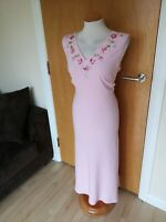 Ladies JACQUES VERT Dress Size 14 Pink Embroidered Midi Party Evening Wedding