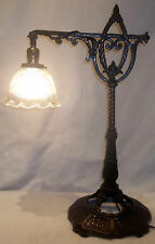 Antique Art Deco Cast Iron Table Top Desk Bridge Lamp NICE Orig.Finish REWIRED