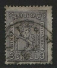 Norway Stamps 1867 SG26  3sk  Lilac Cat £170.00  Fine Used