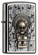 Zippo Lighter - AZTEC - TWO TONE - GOLD and CHROME Tribal Mayan Chief ZIPPOS