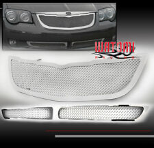 04-08 CHRYSLER CROSSFIRE UPPER + BUMPER LOWER STAINLESS STEEL MESH GRILLE CHROME