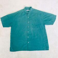 Fenn Wright & Manson Men's Shirt L Green 100% Silk short sleeve 44 46 48 Q12