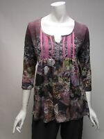 One World 3/4 Sleeve BOHO Violet Floral Top Shirt NWT Sz S, M, L , XL