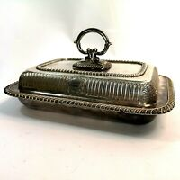 Antique English Silver Plate Entree Dish Serving Bowl Tureen JS&S 1858