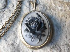 BLACK ROSE CAMEO LOCKET - ANTIQUE BRONZE, VINTAGE LOOK, VICTORIAN, PUNK, WEDDING