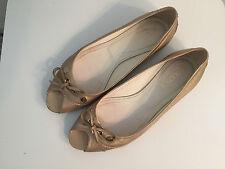 TOD'S Open-Toe Ballerina Flat Leather SOFT GOLD COUPE Metallic Women Size 36 1/2