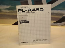 Vintage Pioneer PL-A45D Turntable  Operating Instruction Manual Complete