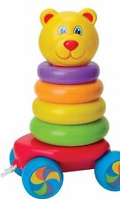 Tirez le long d'Empilage Bagues Teddy Bear Roly Poly Baby & Toddler apprentissage Jouet Neuf