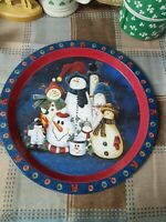 12 Inch Metal Snowman Serving Tray