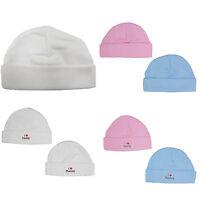 NEWBORN BABY HAT 100% COTTON PREM/TINY WHITE PINK  BLUE 0-3 MONTHS COTTON CAP