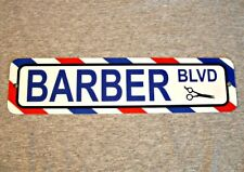 Metal Sign BARBER BLVD shop barbershop pole hairdresser pole street novelty