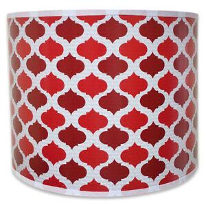 Royal Designs Red Mediterranean Pattern Shallow Drum Hardback Lamp Shade