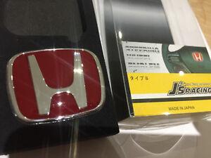 J's Red steering wheel badge for Honda Euro Civic Jazz CRV Type R 53x 43mm A