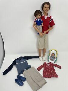 Barbie Doll pregnant MIDGE  HAPPY FAMILY DAD ALAN DOLL RYAN BABY EXTRA CLOTHING