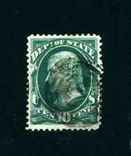 U.S. Scott #O62-10¢ Gteen Jefferson Dept.of State Official Stamp Vf-Xf Used-1873