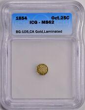 1854 G25C Octagonal California Fractional Gold BG-105 Laminated ICG MS62