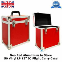 "2 X NEO Aluminium Red DJ Flight Case to Store 50 Vinyl LP 12"" Records STRONG HQ"