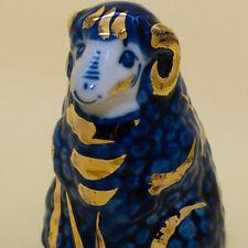 Sheep Ram gzhel Figurine painted in blue, gold porcelain handmade