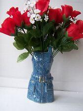 MED ceramic blue denim dress novelty vase planter dressing table ornament