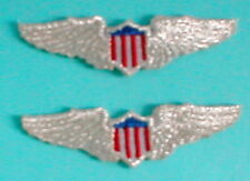 PILOTS WINGS Aviation Airplane Aircraft Emblem Metallic Silver Patch Applique