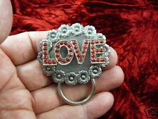 (E901) Silver color LOVE red rhinestones daisy Eyeglass pin ID badge holder loop