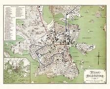 Helsinki, Helsingfors old city map from 1898 (F. Liewendal) Vintage Print Poster