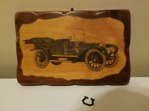 """Wood Antique Car Picture Wooden Sign Judy Allen Wall Decor 10"""" W x 6.5"""" H"""