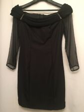 Roberta Vintage Size 11/12 Black Off Shoulder Sheer Sleeve Bling Cocktail Dress