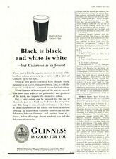 1936 Guinness Beer Ad: Black is Black & White is White