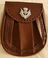 Brown Cowhide Medieval Day Scottish kilt Sporran + Leather & Metal Chain set