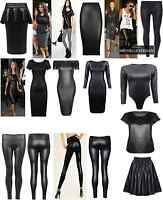 NEW WOMEN'S WETLOOK PVC BODYCON DRESS PEPLUM SKATER SKIRT TOP LEGGINGS SIZE 8-22