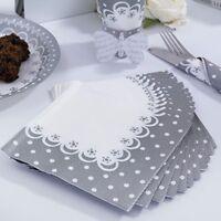Wedding Napkins - Pack of 20 Chic Boutique Silver White 3-ply Napkins Serviettes
