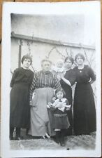 Doll 1915 Realphoto Postcard: Women & Children Posing, Girl w/Toy