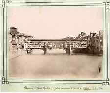Italie, Florence, Ponte Vecchio  Vintage albumen print  Tirage albuminé  20x