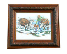 Rare 1980 LYNN BEAN Cattle Rancher Cow Painting Lithograph Western Landscape