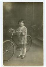 1920s Children child GIRL w/ BICYCLE unique image ? private photo postcard