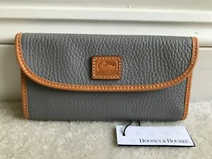 NEW! Dooney & Bourke Continental Clutch Wallet Grey Pebble Leather Saddle Trim