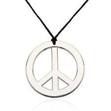 German Trendseller® - Halskette Peace Anhänger, Flower Power Hippie Kette Silber